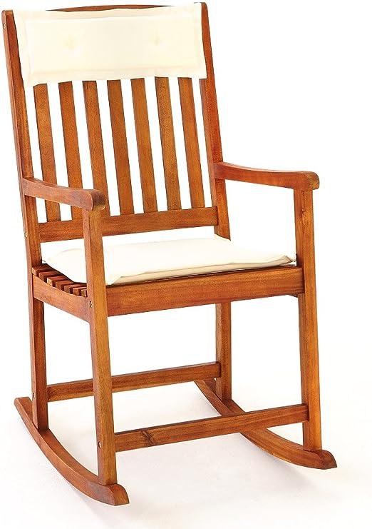 Deuba Mecedora de madera de acacia incl. cojín para jardín 107x54x76cm diseño clásico para terraza balcón: Amazon.es: Hogar