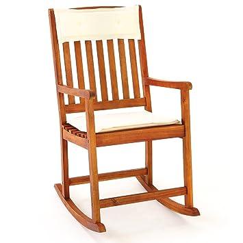 Chaise Rocking Chair En Bois Dur Acacia Avec Coussins Amovibles