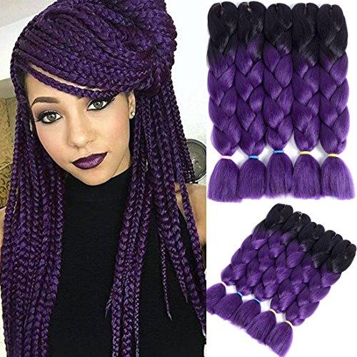 Liyate Jumbo Braid Hair 24 Inch Kanekalon Braiding Hair Twist Crochet Box Braids Ombre Synthetic Hair Extensions 5 Pcs/Lot for Full Head(Black-Dark Purple) (Best Hair To Use For Crochet Braids)