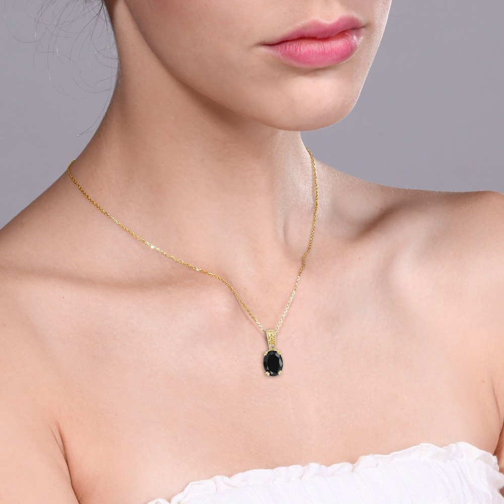 Gem Stone King Black Sapphire /& White Diamond 18K Yellow Gold Plated Silver Pendant 1.67 cttw, with 18inches Chain