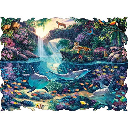 Beautiful Borders Collection Jungle Paradise 750 piece puzzle By: Artist Steve -