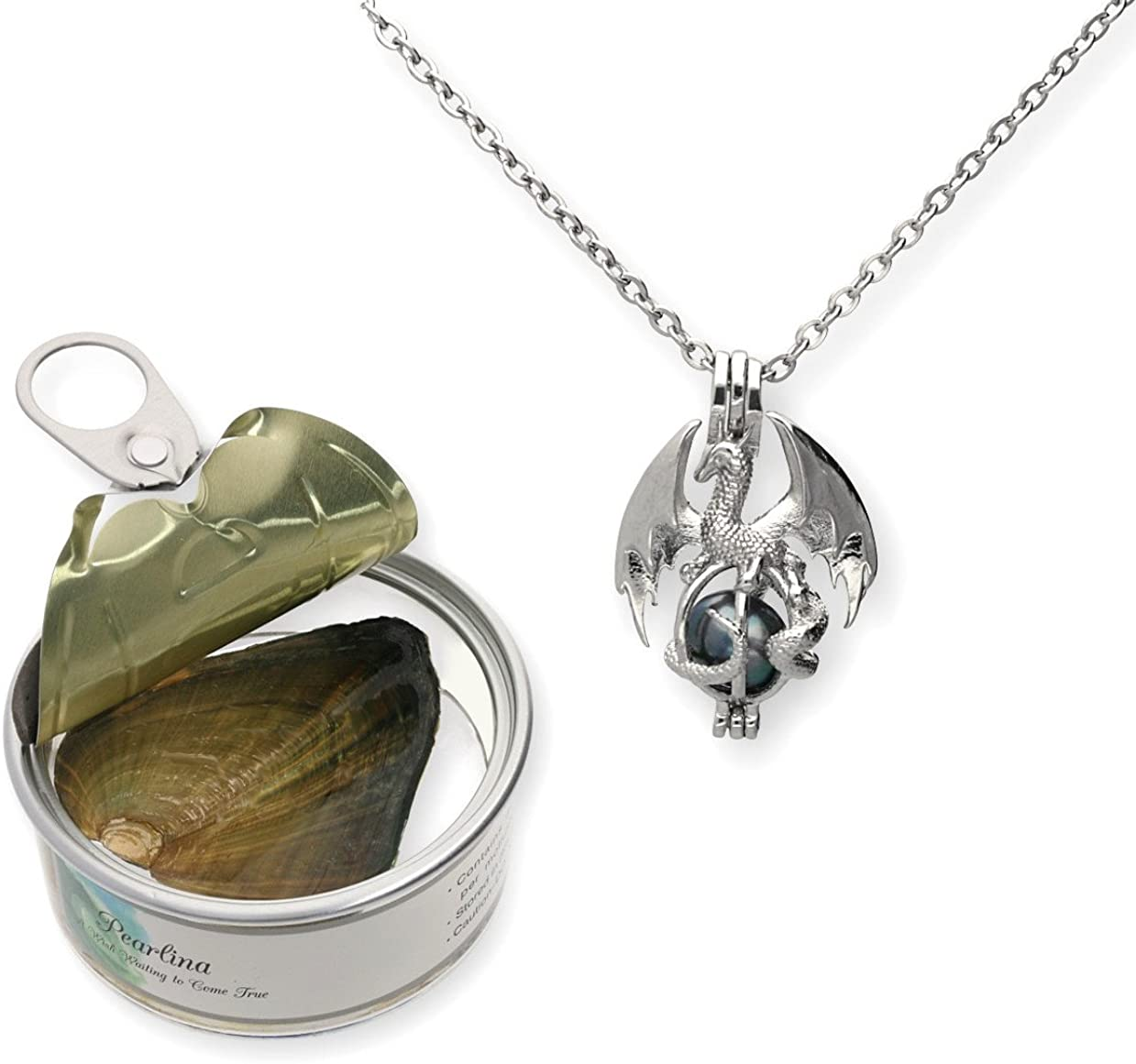 Pearlina Dragon Cultured Pearl in Oyster Necklace Set Silver tone Cage w/Stainless Steel Chain 18""