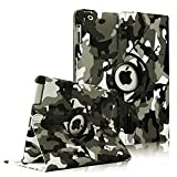 FINTIE (Camouflage Black) 360 Degree Stylish Rotating Magnetic Case Smart Cover With Swivel Stand For Apple iPad 4th Generation Retina Display / the new iPad 3 / iPad 2 (Wake/sleep Function)