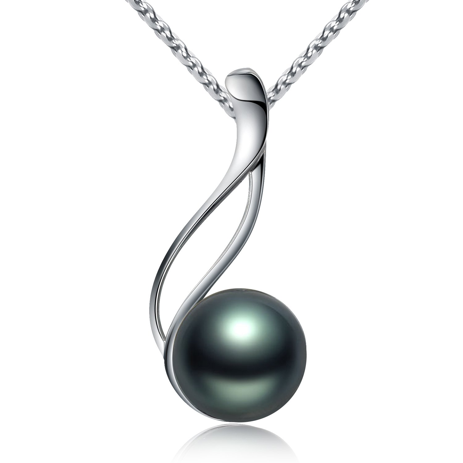 Amazon tahitian cultured black pearl pendant necklace 9 10mm amazon tahitian cultured black pearl pendant necklace 9 10mm round sterling silver anniversary gifts for women viki lynn jewelry aloadofball Image collections