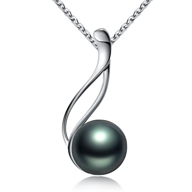 Amazon viki lynn tahitian cultured black pearl pendant necklace viki lynn tahitian cultured black pearl pendant necklace 9 10mm round sterling silver for women aloadofball Images