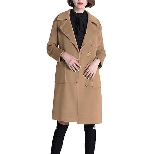 De Lana Bolsillos De Las Señoras De Costura De Mediana Longitud Abrigo De Lana Caliente De Lana Fina,A-S