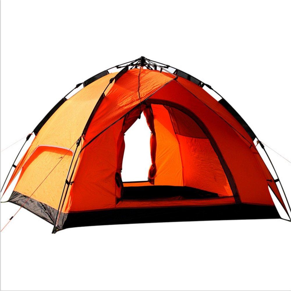 YuFLangel Outdoor Camping Zelt 3-4 Personen Pull Seile, automatische Anti-Aufruhr Regen Multi-Person Camping Zelt Orange zu Bauen Beach Tent