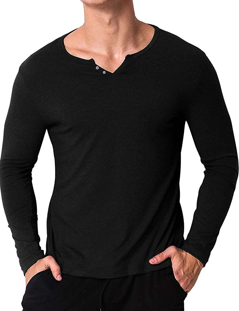 buying cheap better price for price remains stable Mens Long Sleeve T Shirts Essential V Neck Tee Shirts with Buttons