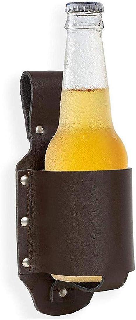 Amoyer Cuero De La Pistolera De La Cerveza De La Cerveza Cl/ásica Botella De Bebida Funda Cadera Porta Botellas Aire Libre Caja Protectora De La Cerveza