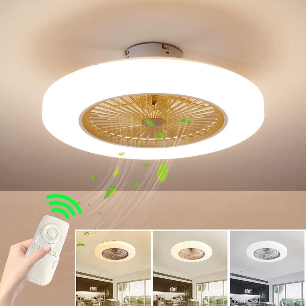 Ventilateur de Plafond avec Lampe LED 36W Plafonnier pour Chambre /à Coucher 3 Vitesses SUZNIU Ventilateur de Plafond avec Lampe int/égr/ée avec t/él/écommande Color : White 3 Couleurs dimmable