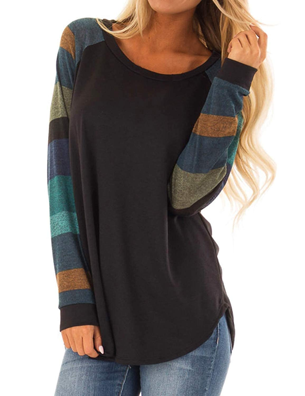 6947f968aef HMei Women Casual Shirts Color Block Long Sleeve Striped Loose Tunic  Sweatshirts Top HM-T-9042