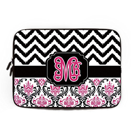 Monogram Black Chevron Computer Sleeve 15 15.4 Inch Damask Floral Pattern Computer Case for Laptop Geometry Laptop Sleeve Case Cover for Apple MacBook Air Acer Samsung Ultrabook Asus