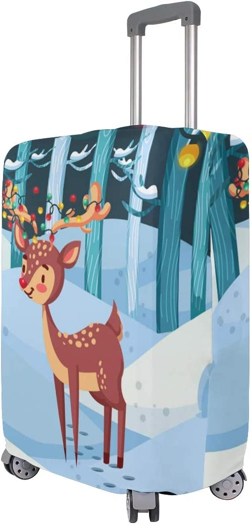 FOLPPLY Winter Forest Christmas Reindeer Luggage Cover Baggage Suitcase Travel Protector Fit for 18-32 Inch