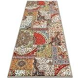 casa pura Vintage Carpet Runner for Hallway, Tesoro 80x350cm | Non-Slip | Patchwork Pattern Ideal for Kitchen, Bedroom Floor etc | Multiple Lengths
