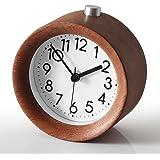 Small Travel Alarm Clock,TOPBRIGHTTRADE Classic Handmade Round Wooden Silent Desk Alarm Clock Snooze Alarm Clock with Nightlight