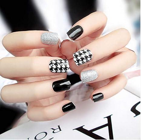 Consejos de arte de uñas de diseño de tamaño corto con pegamento ...