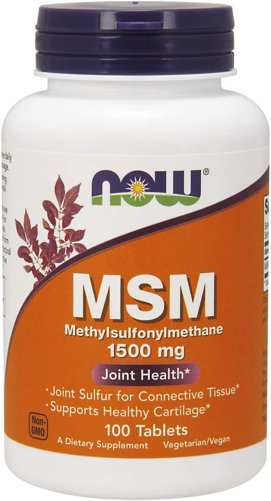 NOW Supplements, MSM (Methylsulfonylmethane) 1,500 mg, Supports Healthy Cartilage*, Joint Health*, 100 Tablets