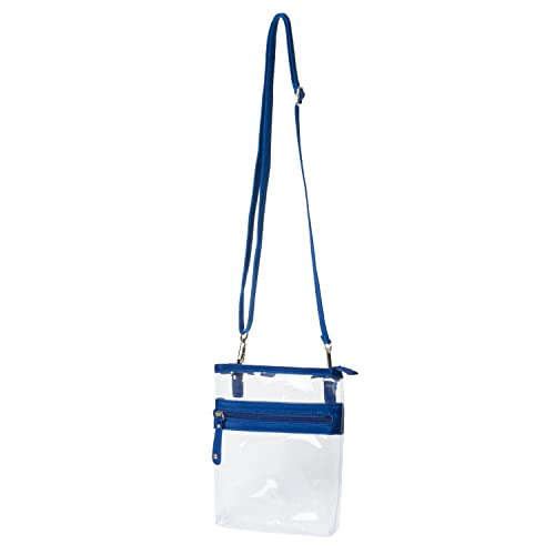 c79670f03319 Deluxe Clear Cross-Body Bag Multi Pocket Small - NFL Stadium Approved Purse  - Navy