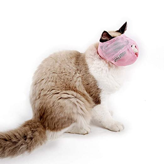 Amazon.com : Aolvo Cat Muzzles, Breathable Soft Mesh Muzzles Prevent Cats from Biting and Chewing Cat Face MaskPreventing Scratches, Anti Bite Anti Meow ...