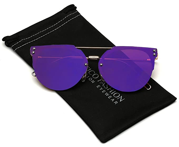 f36c7bd8da Amazon.com  Chameleon Lens Rimless Cat Eye Fashion Sunglasses  Clothing