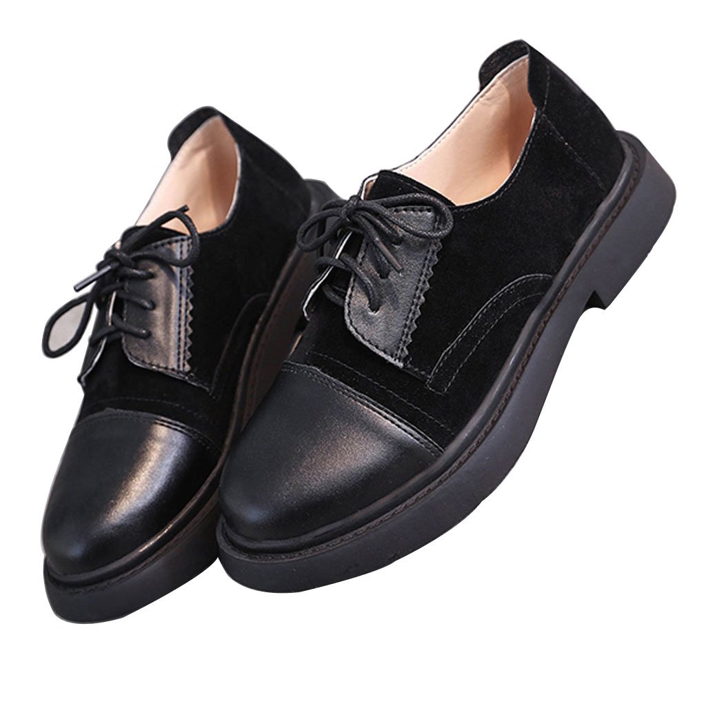 Shi xiang shop Single Shoes Scarpe Basse Donna Fondo Piatto Studenti Coreani Stile retrò Stile College Universitario in Stile Inglese Nero