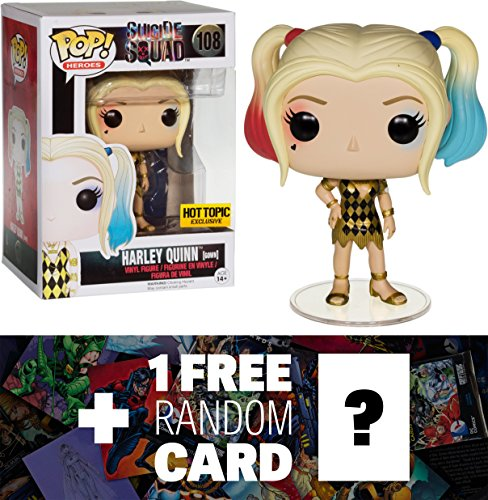 Harley Quinn (Hot Topic Exclusive): Funko POP! x Suicide Squad Figure + 1 FREE Official DC Trading Card Bundle (086589) -