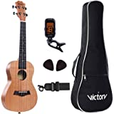 Concert Ukulele 23 Inch Mahogany Aquila Strings Beginner 5 in 1 Kit: Bag + Straps + Tuner + Picks - Natural Color