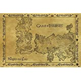 "Fernseher Game Of Thrones, antik, Motiv ""Landkarte"" GoT Poster Druck - 91.5 x 61 cm"