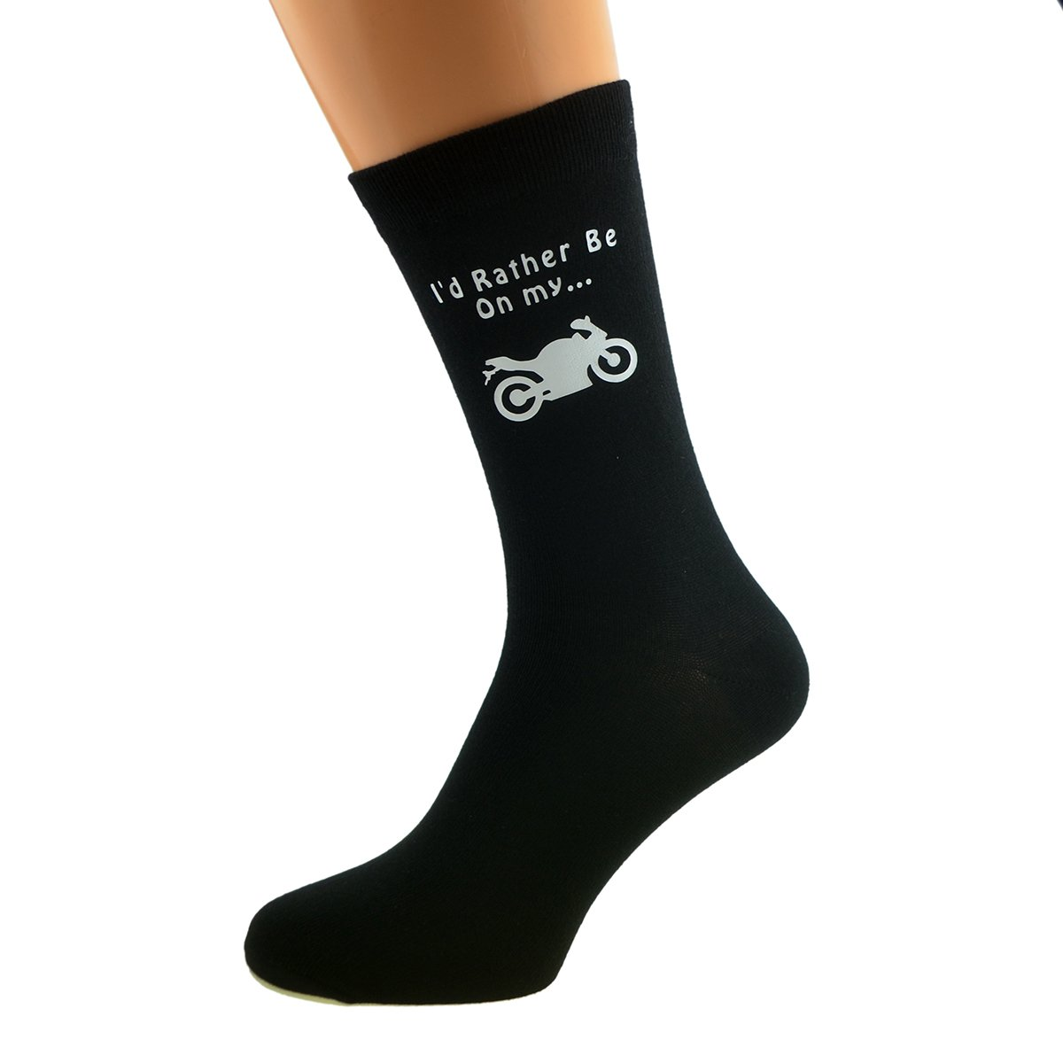 I'd Rather be on my Bike with Motorbike Image Design Mens Black Cotton Rich Socks MC Gifts