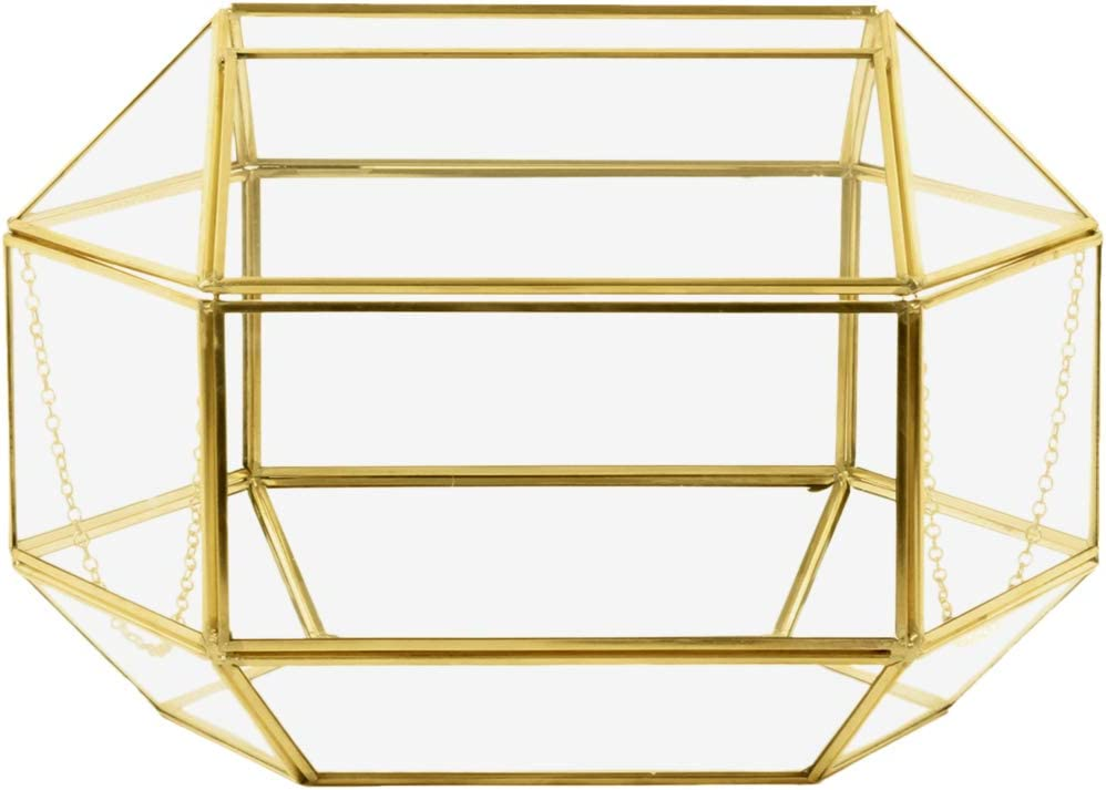 Koyal Wholesale Geometric Glass Wedding Card Gift Box Holder, Reception Drop Box, Modern Lantern Table Décor, Geometric Wedding Decor, Terrarium Planter (Gold, 12 x 9-Inch)
