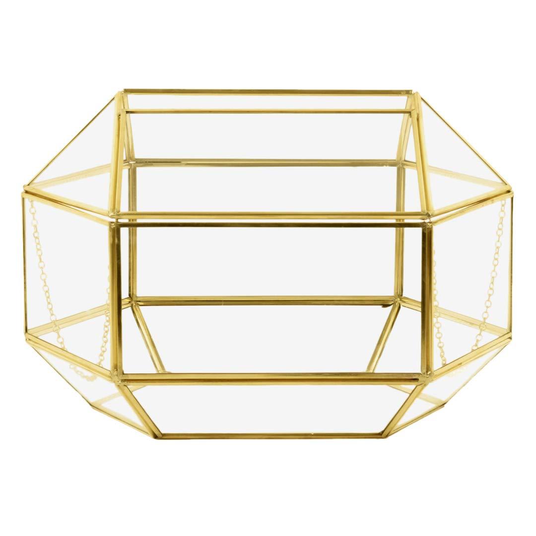 Koyal Wholesale Geometric Glass Wedding Card Gift Box Holder, Reception Drop Box, Modern Lantern Table Décor, Geometric Wedding Decor, Terrarium Planter (Gold, 12 x 9-Inch)