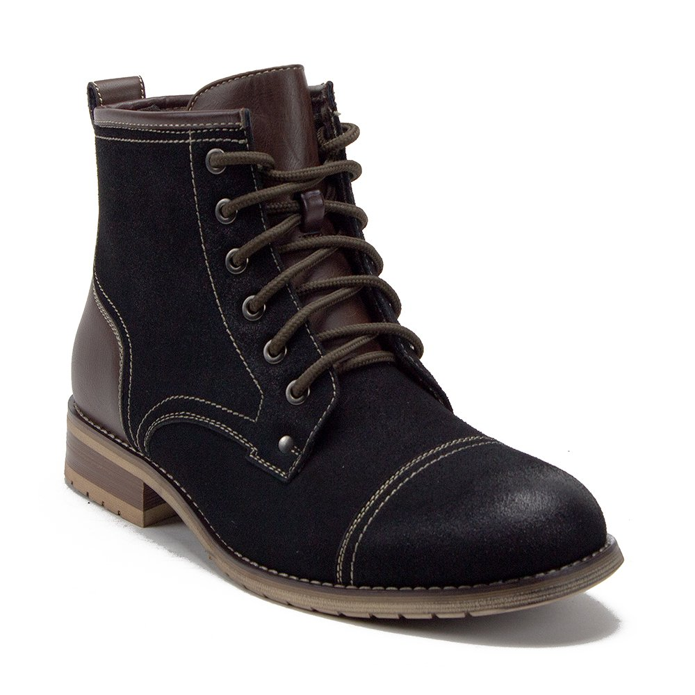 Mens Ferro Aldo Cap Toe Military Style Zipped 2 Tone Dress Casual Work Boots