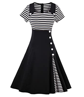 443a83434f5d Wellwits Women's Vintage Pin Up A Line Stripes Sailor Dress Black S
