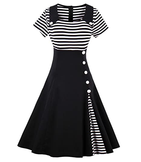651d3cb0d06 Wellwits Women s Vintage Pin Up A Line Stripes Sailor Dress  Amazon ...