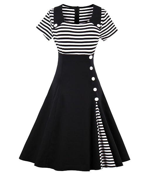 f65db9c921 Wellwits Women's Vintage Pin Up A Line Stripes Sailor Dress Black S