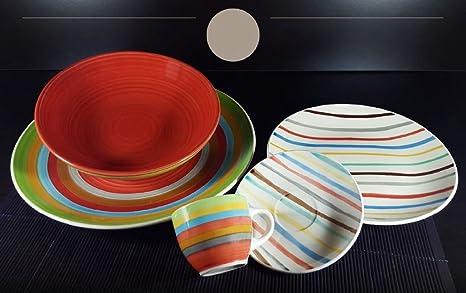 Albalù Italia Servizio Piatti da TAVOLA Colorati in Ceramica di Design  Shabby Chic | 6 Persone 18 Pezzi : 6 Piatti Fondi, 6 Piatti Piani, 6 Piatti  ...