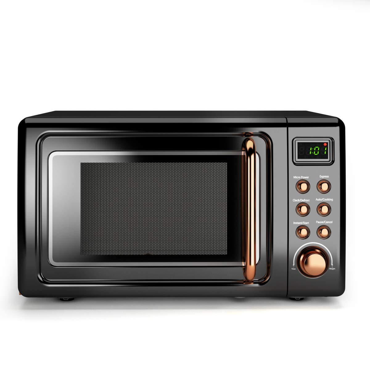 COSTWAY Retro Countertop Microwave Oven, 0.7Cu.ft, 700-Watt, Cold Rolled Steel Plate, 5 Micro Power, Delayed Start Function, with Glass Turntable & Viewing Window, LED Display, Child Lock (Gold) by COSTWAY