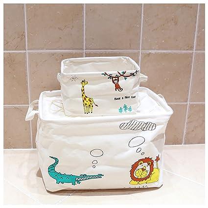 inwagui plegable algodón y lino de almacenamiento cubo de almacenamiento cesta para la habitación del bebé
