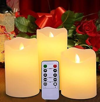 Flammenlose Led Kerzen Von Harcas Set Mit 3 Batterie Betriebenen