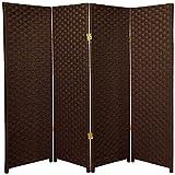 Oriental Furniture 4 ft. Tall Woven Fiber Room Divider - Dark Mocha - 4 Panel
