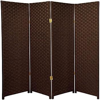 Oriental Furniture 4 Ft Tall Woven Fiber Room Divider Dark Mocha 4 Panel
