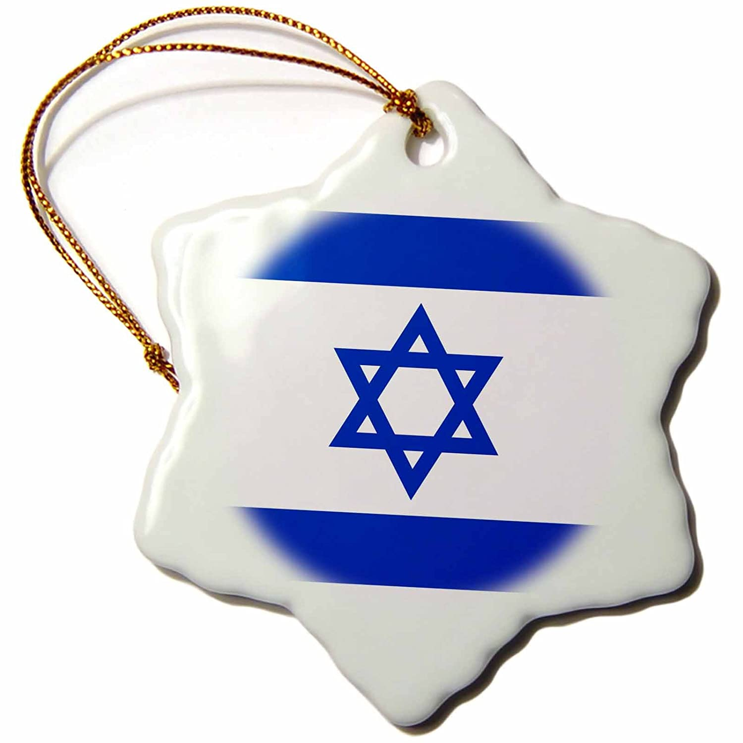 Judaism 3dRose InspirationzStore Flags Jewish state of Israel 3 inch Snowflake Porcelain Ornament Israeli flag Blue and white with magen david star orn/_151420/_1 Zionism