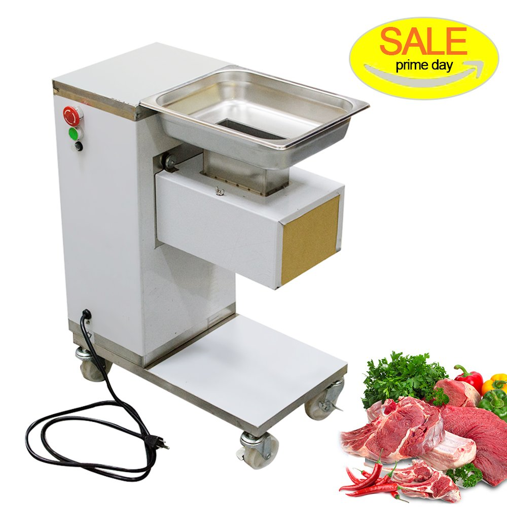 Meat Slicer, zinnor Stainless Steel Fresh Meat Cutter Commercial Grade Restaurant Meat Processing Machine Electric Slicer Meat Cutting Machine Cutter 500kg/Hour