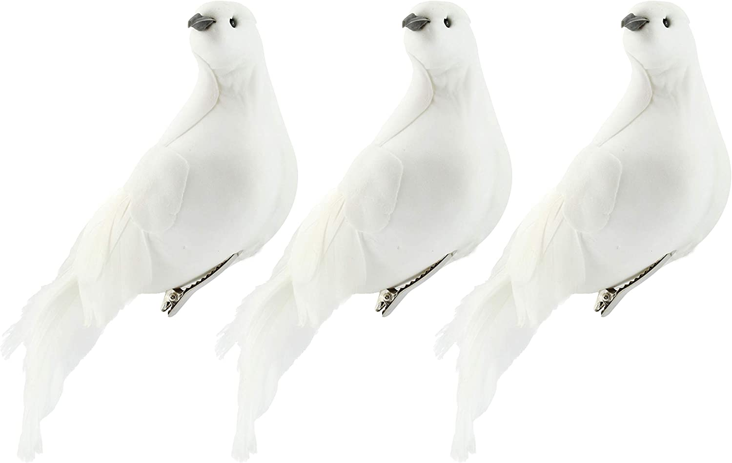 Darware Large White Doves (Set of 3); 8-Inch Long Artificial Doves Figures, Christmas and Wedding Decorations/Large Ornaments