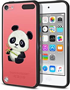 FINCIBO Case Compatible with Apple iPod Touch 5 6 7th Gen 2019, Slim Shock Absorbing TPU Bumper + Clear Hard Back Protective Cover for iPod Touch 5 6 7 - Baby Panda