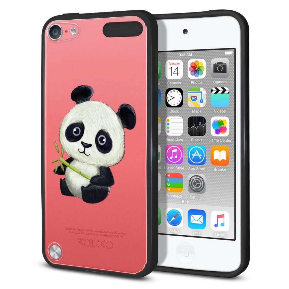 FINCIBO Case Compatible with Apple iPod Touch 5 6, Slim Shock Absorbing TPU Bumper + Clear Hard Back Protective Cover For Apple iPod Touch 5 6th Generation - Baby Panda