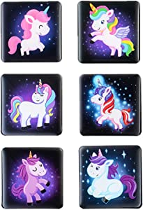Morcart Unicorn Fridge Magnets Refrigerator Magnets Cute 6-Sets With Rainbows & Stars 3D Pattern Square Kitchen Student Locker Whiteboard Funny Office