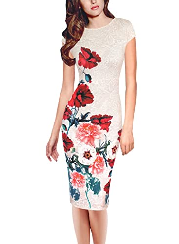 Vfemage Womens Elegant Floral Printed Cocktail Party Casual Pencil Dress