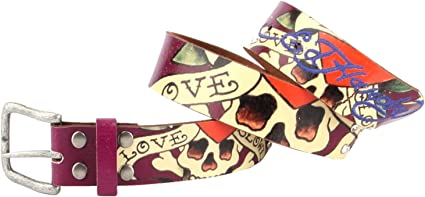 Ed Hardy Girls Love Kills Slowly Leather Belt