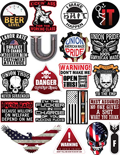 20 Hard Hat & Tool Box Vinyl Stickers - Stickers for Adults - Funny Decals for Hardhat, Construction, Union, Oilfield, Electrician, Ironworker, Mechanic, Welding, American Flag (Hard Hat Stickers Union)